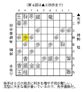 次の▲8三桂を見せることで、手番を渡さない。